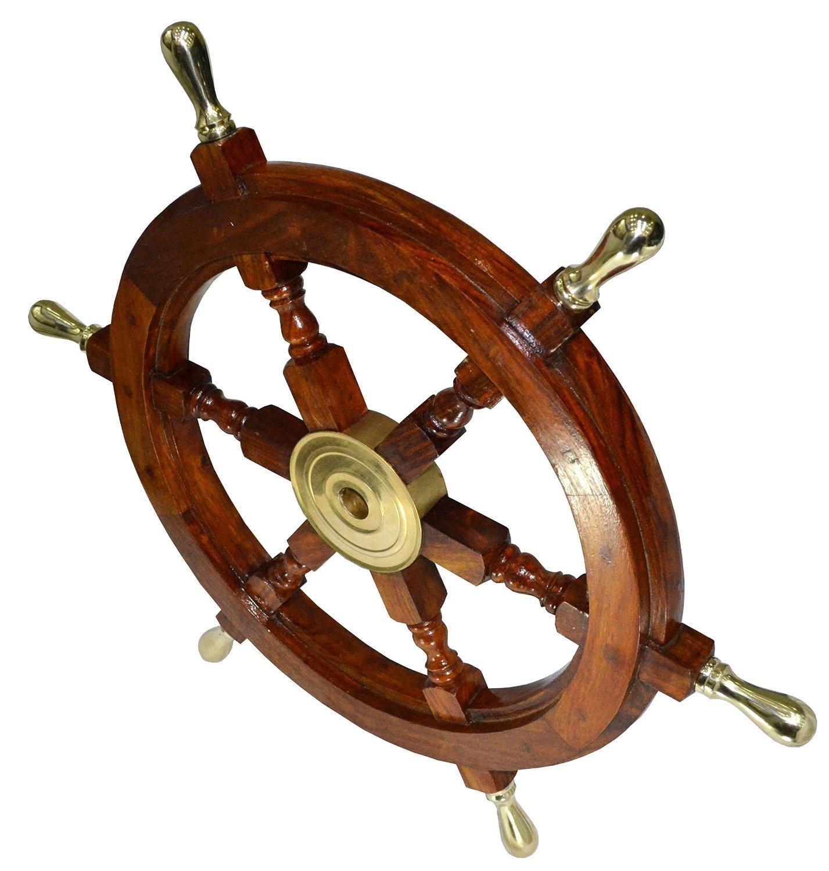 Ship Wheel Wooden 24'' Ship Wheel Nautical Boat Pirate Home Decor