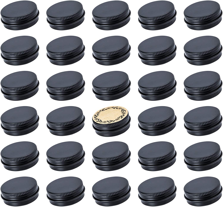 Screw Top Black Aluminum Tin Jar with Screw Lid and Blank Labels - 31pcs, 0.5oz