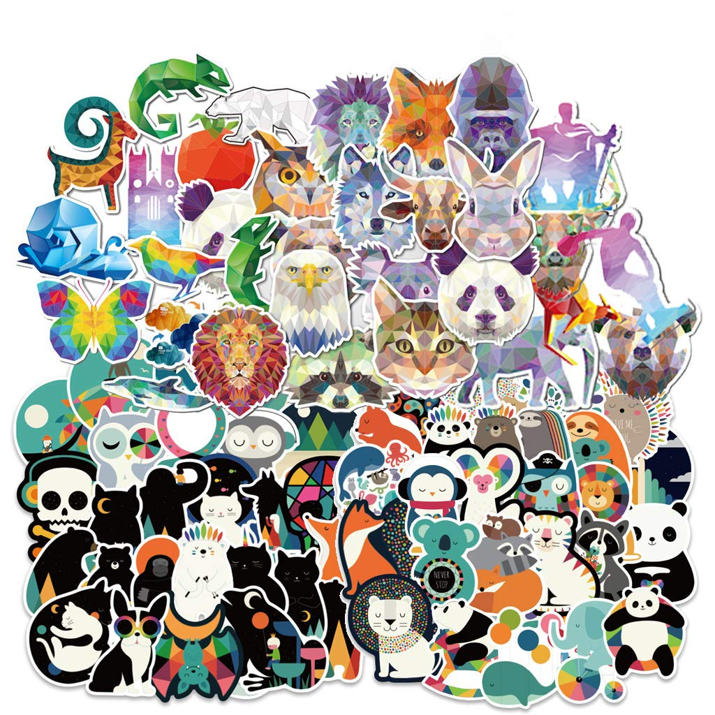 Yubbaex Cute Animals Stickers 135 Pcs Laptop VSCO Stickers Pack Cool Vinyl Waterproof Sticker for Pad MacBook Car Snowboard Bicycle Luggage Decal (Crystal Animals 135 Pcs)