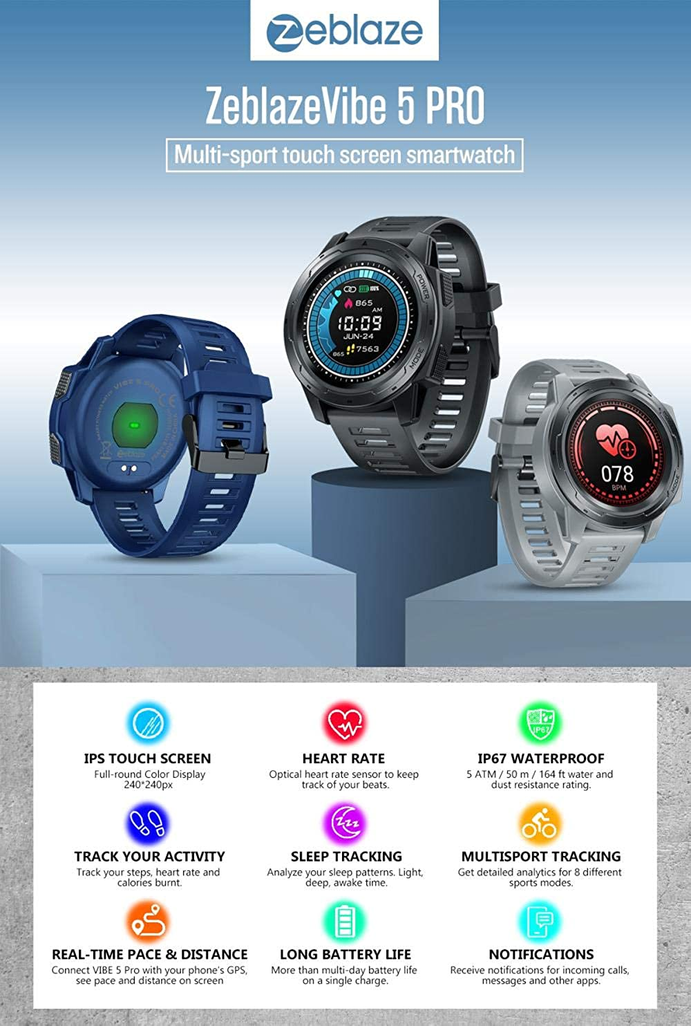 Pantalla Táctil En Color Smartwatch Ritmo Cardíaco Multi Sports ...