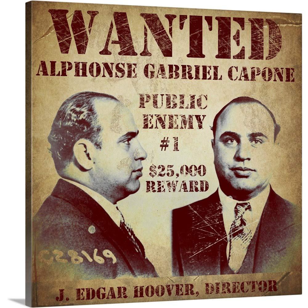ヴィンテージAppleコレクションプレミアムシックラップキャンバス壁アート印刷題名al capone Wantedポスター 24