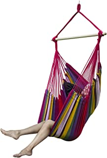 sorbus brazilian hammock chair swing seat for any indoor or outdoor spaces multi color amazon    large brazilian hammock chair by hammock sky   quality      rh   amazon