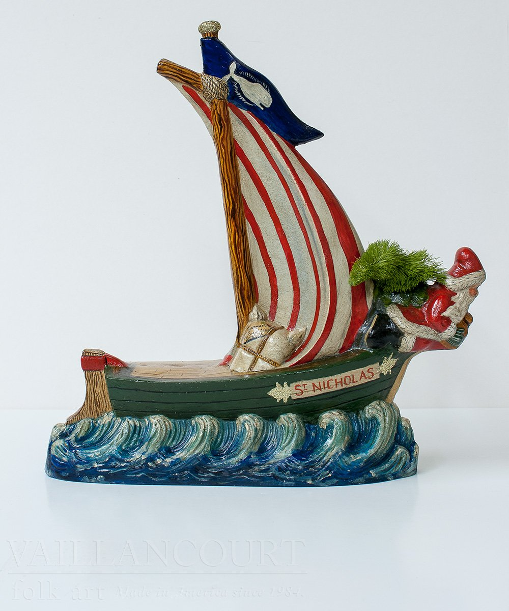 Santa Figurehead On Nantucket Boat