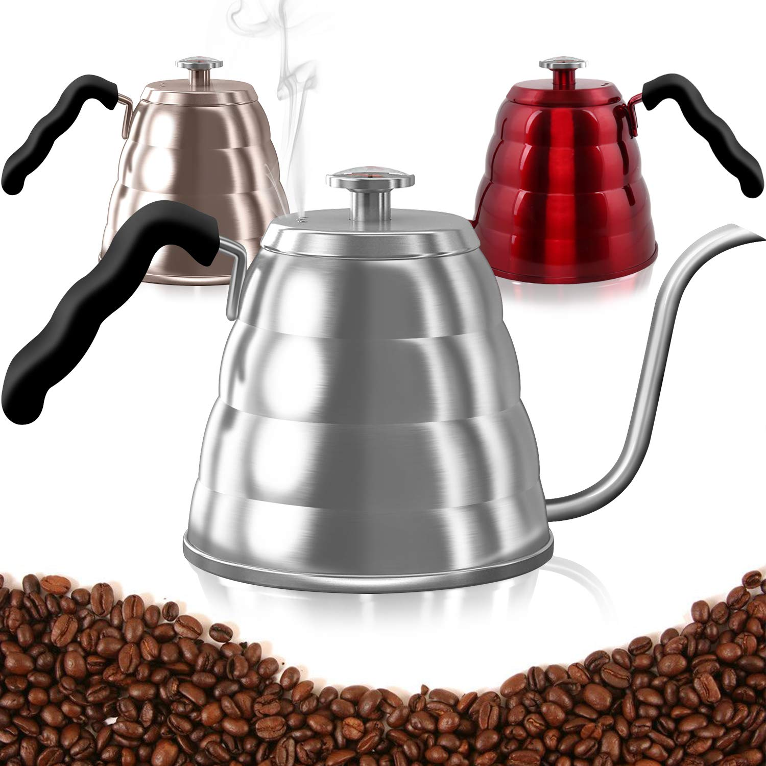 Pour Over Coffee Kettle with Thermometer-Flow Gooseneck Spout-Brew Barista-Standard Hand Drip Coffee and Tea-Suitable for all Stovetops Including Induction-Insulated BPA Free Handle(40 floz, silver)...