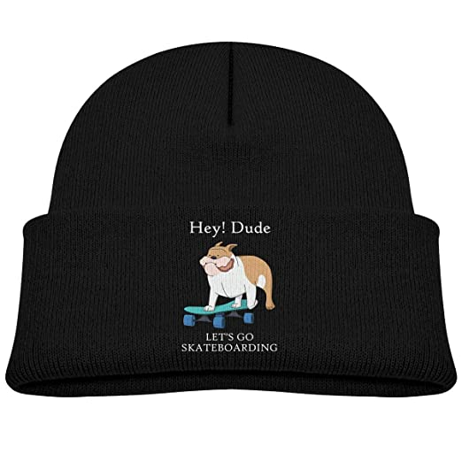 Toddler Boys Girls Hat Cool French Bulldog Skating Beanie Hats Knit ... 9234a38bb