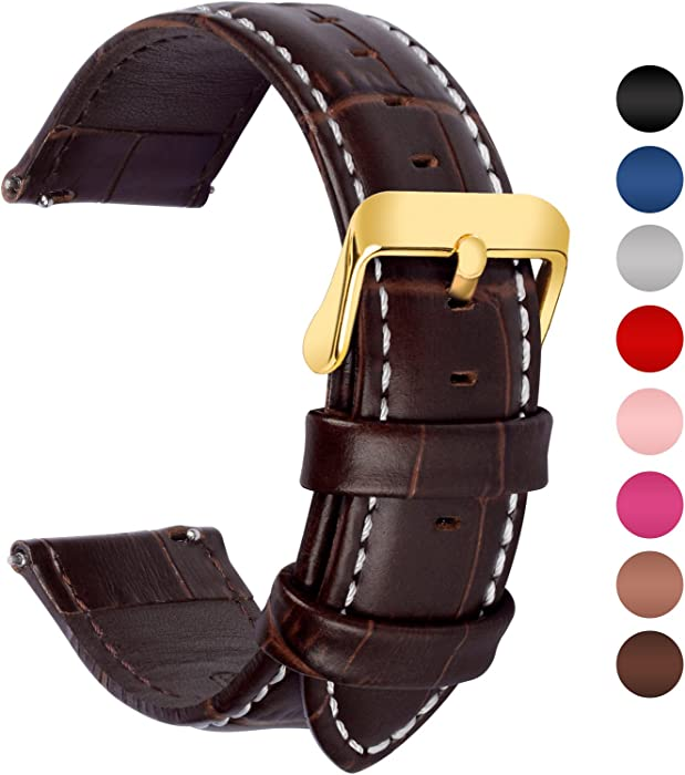 7 Colors for Quick Release Leather Watch Band, Fullmosa Bamboo Genuine Leather Replacement Watch Strap with Stainless Metal Clasp 18mm 20mm 22mm 24mm