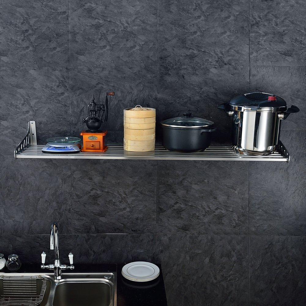 KES 32-Inch Kitchen Wall Mount Pot Pan Rack Wall Shelf SUS 304 Stainless Steel Rustproof Brushed Finish, KUR206S80-2