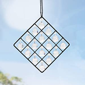 16 -Pack Clear Glass Crystal Ball Prisms Window Rainbow Maker Metal Crystal Garden Pendant Crystal Ornament Sphere Faceted Gazing Ball Suncatcher for Window, Garden, Home Decoration((Transparent)