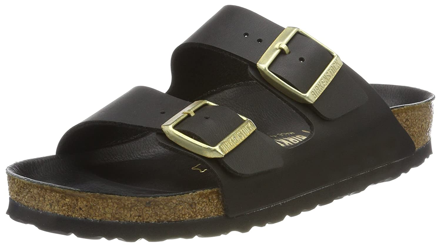 Birkenstock Arizona, Zapatos con Hebilla Unisex Adulto 39 EU (Normal)|Negro (Noir/Or Exquisite)