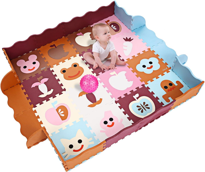 Smibie Alfombras Puzzles para Niños Alfombra Bebé Gruesa 40pcs(1.5mx1.5m) de Espuma EVA para Juego Infantil en Suelo(con Valla/ Marrón&Rosa&Azul)