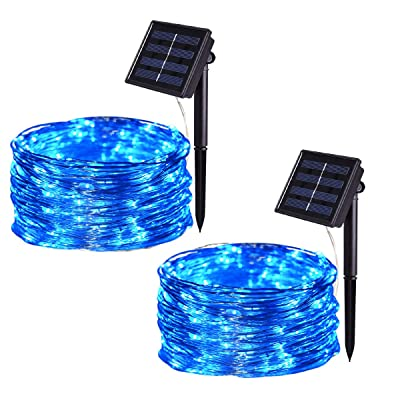 HONGM Solar String Lights Outdoor, 100 LED Waterproof Fairy String Decorative Copper Wire Lights for Wedding, Patio, Bedroom, Party, Christmas (2Pack) (Blue) : Garden & Outdoor