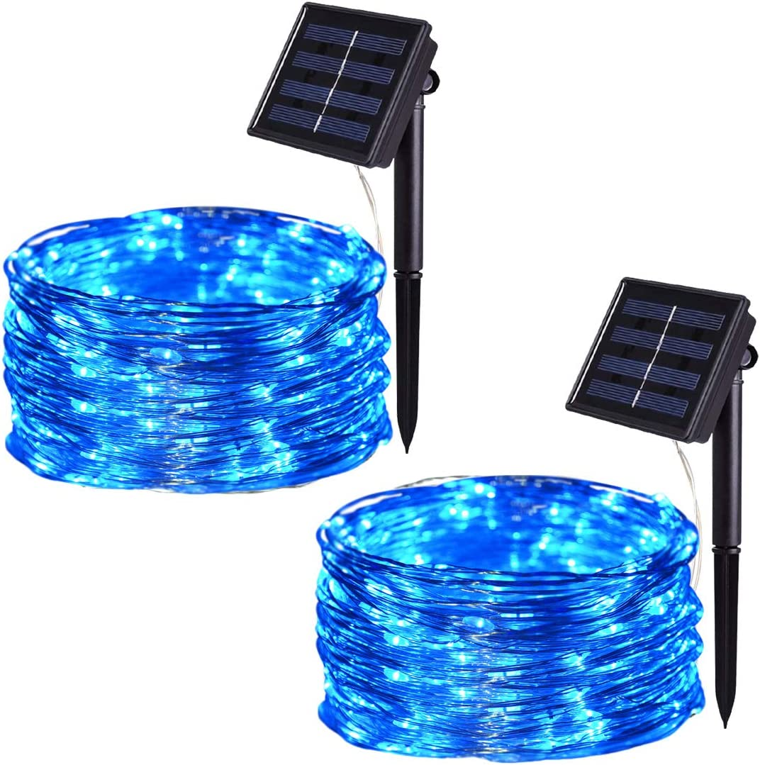 Solar String Lights Outdoor, HONGM 100 LED Waterproof Fairy String Decorative Copper Wire Lights for Wedding, Patio, Bedroom, Party, Christmas ( 2Pack) (Blue)