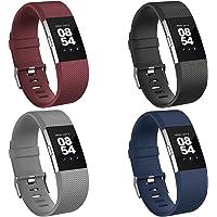 Vancle 4 Pack Vervanging voor Fitbit Charge 2 Strap, Horlogebanden Zachte Comfortabele Accessoire Bandjes voor Fitbit…