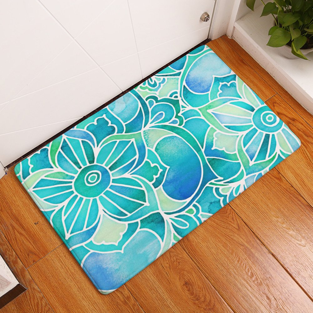 YJ Bear Thin Pink Rose Flower Print Indoor Floor Mat Rectangle Doormat Entry Mat Home Decor Carpet Kitchen Floor Runner 16 X 24