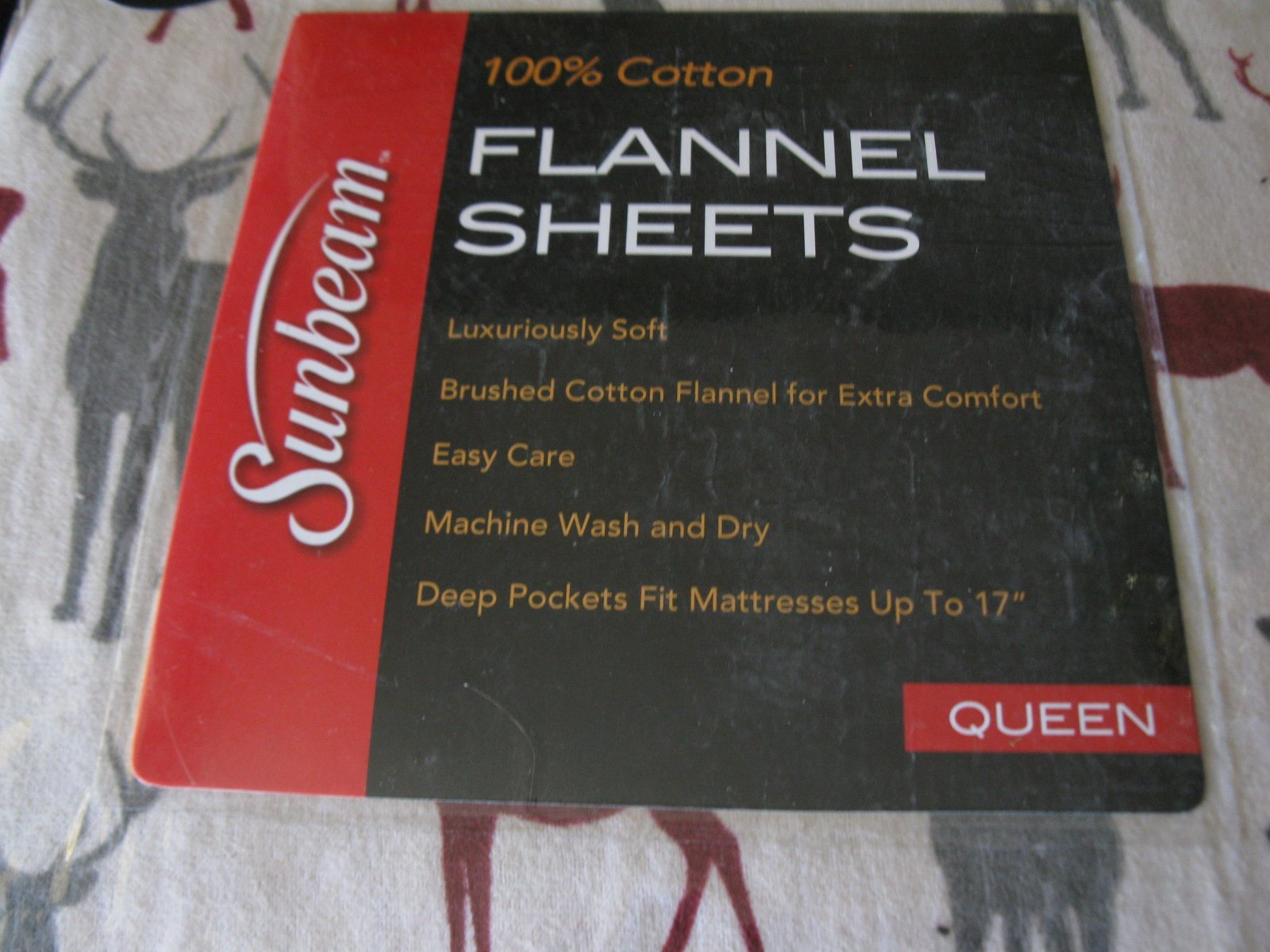 Sunbeam Wood Grain Deer 100% Cotton Queen Flannel Sheets - Includes 1 Flat Sheet, 1 Fitted Sheet and 4 Standard Pillowcases by Sunbeam (Image #2)
