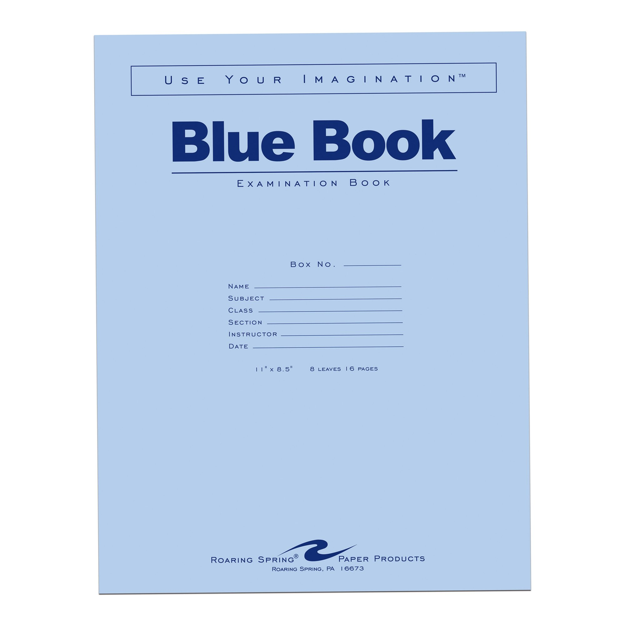 Case of 500 Exam Books, 11''x8.5'', 8 sheets/16 pages of 15# Smooth White Paper, Wide Ruled W/Margin, Heavy Blue Cover, Stapled by Roaring Spring Paper Products