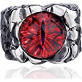 Elfasio Men Stainless Steel Rings Red The Devil Eye Gothic Eyes of Hell Demon Biker Vintage Jewelry Size 8-15