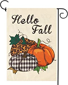 Pumpkin Fall Garden Flag Sign Autumn Thanksgiving Day Flags Small Double-Sided Harvest Outdoor Decoration 12.5 x 18 in
