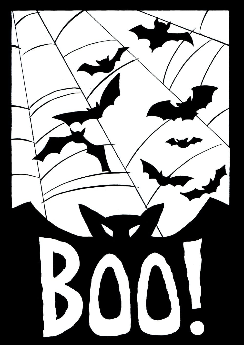 Toland Home Garden Boo 12.5 x 18 Inch Decorative Spooky Halloween Bat Spider Web Garden Flag