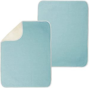 mDesign Ultra Absorbent Reversible Microfiber Dish Drying Mat and Protector for Kitchen Countertops, Sinks - Folds for Compact Storage - Extra Large, 2 Pack - Aqua Blue/Ivory