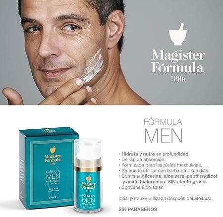 Crema Hidratante Facial Hombre 50 ml | Antiarrugas, Antiedad y Antimanchas | Con Protección Solar SPF | Aftershave | Aporta un tono mate | Nutre y Repara | Piel Grasa, Mixta y Seca | Magister Formula