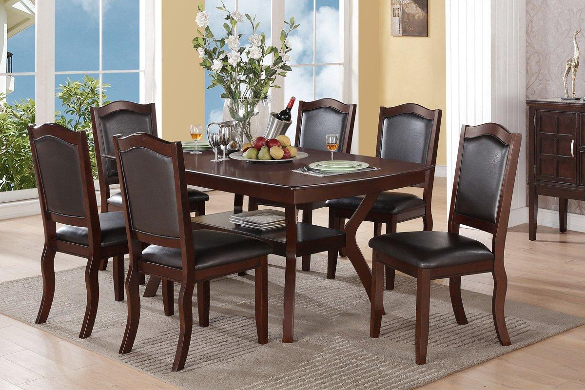 Prime Amazon Com Contemporary Beautiful Espresso 7Pc Dining Set Cjindustries Chair Design For Home Cjindustriesco