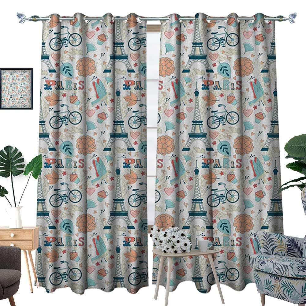 Warm Family Paris Room Darkening Wide Curtains Dove Cupcake Eiffel Tower Flowers Falling Leaves Love Grungy Autumn in France Theme Customized Curtains W120 x L84 Multicolor by Warm Family