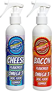 Bacon and Cheese Flavored Dog Food Sprays. A Holistic Blend of All Natural, Human Grade, Edible Oils. No Artificial Ingredients.