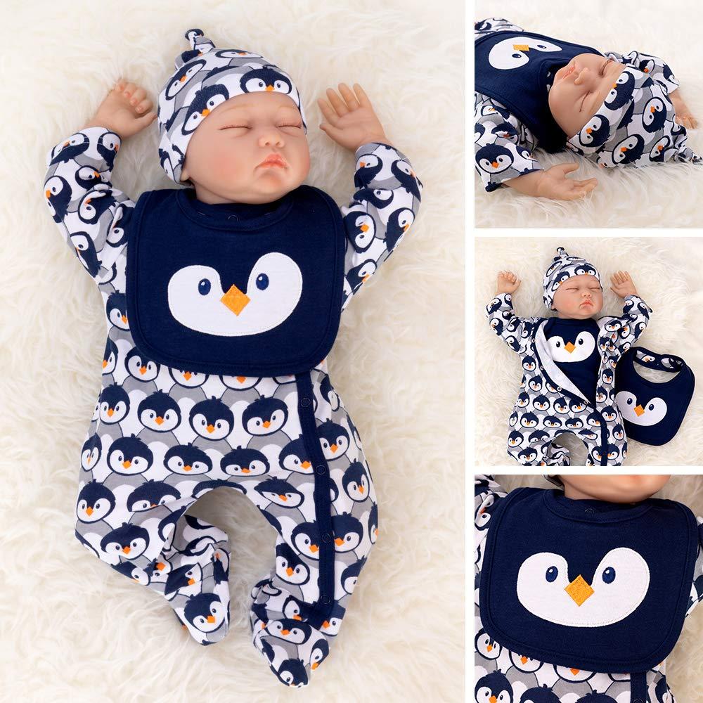 62//68 Motiv: Pinguin PitterPatter Baby Set Jungen navy Baby Set mit Strampler f/ür Neugeborene /& Kleinkinder Gr/ö/ße: 3-6 Monate