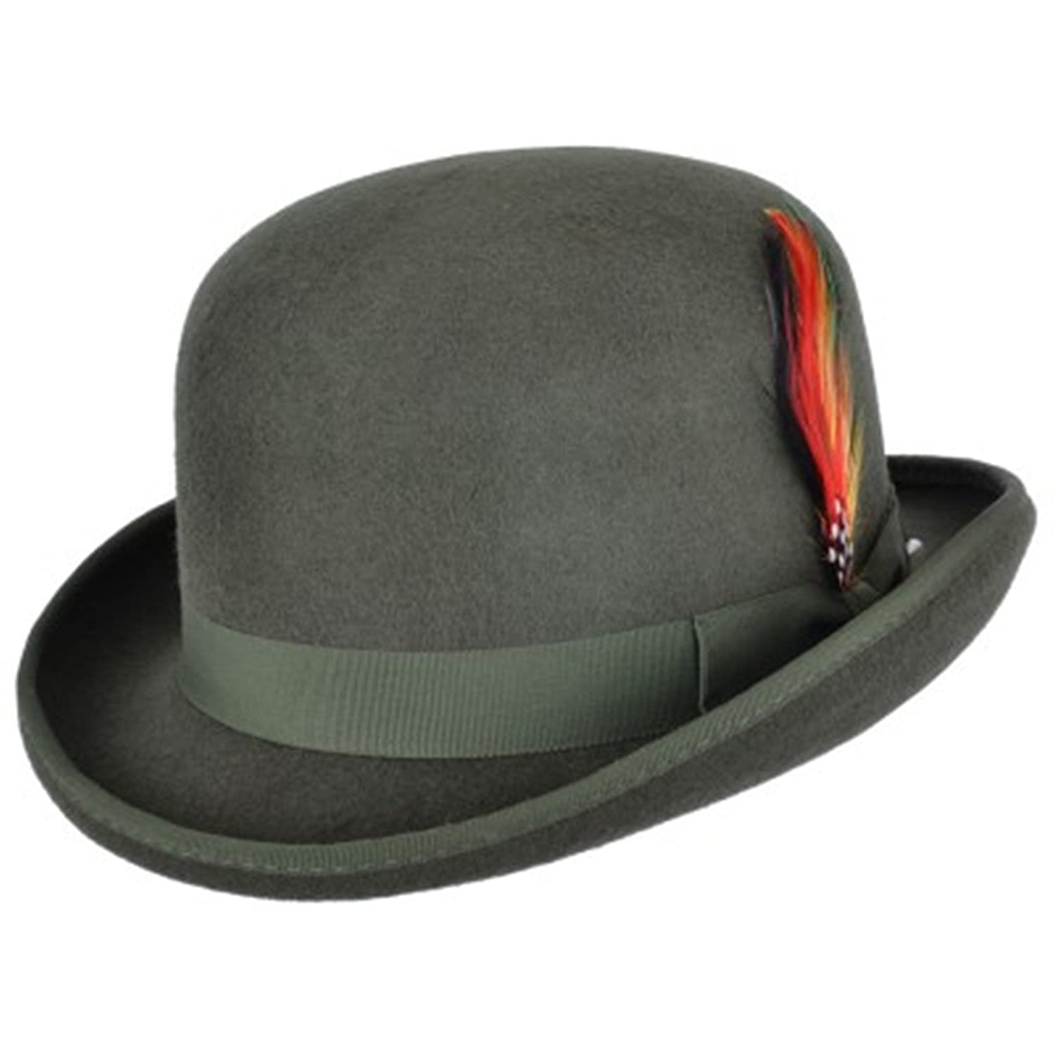 High Quality Hard Top 100% Wool Bowler Hat WITH Feather - Satin Lined - Sizes S to XL