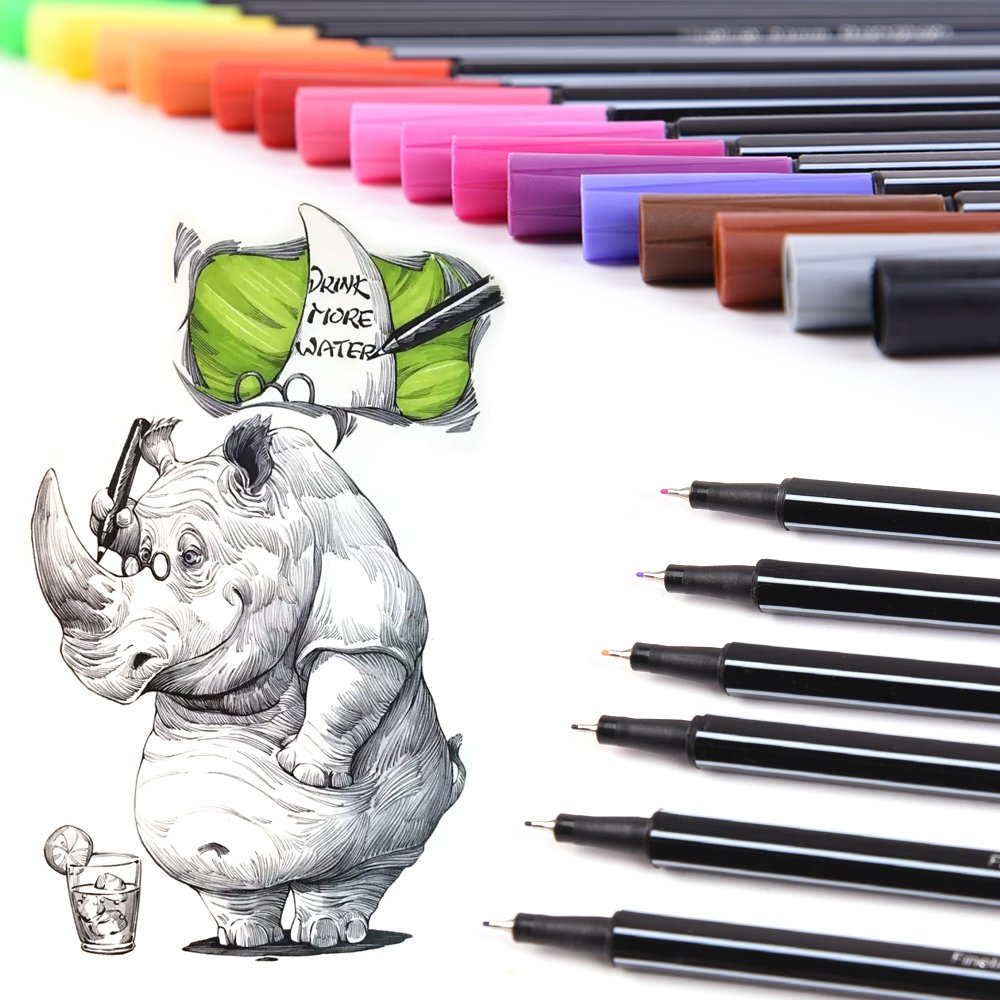 Dual Markers 24 Colored Brush Paint– Sketch Drawing Designer Artist Pens with 0.4mm Fine Point Fineliner Fiber Tip – Dual Tips perfect for coloring book qianshan 4336948053