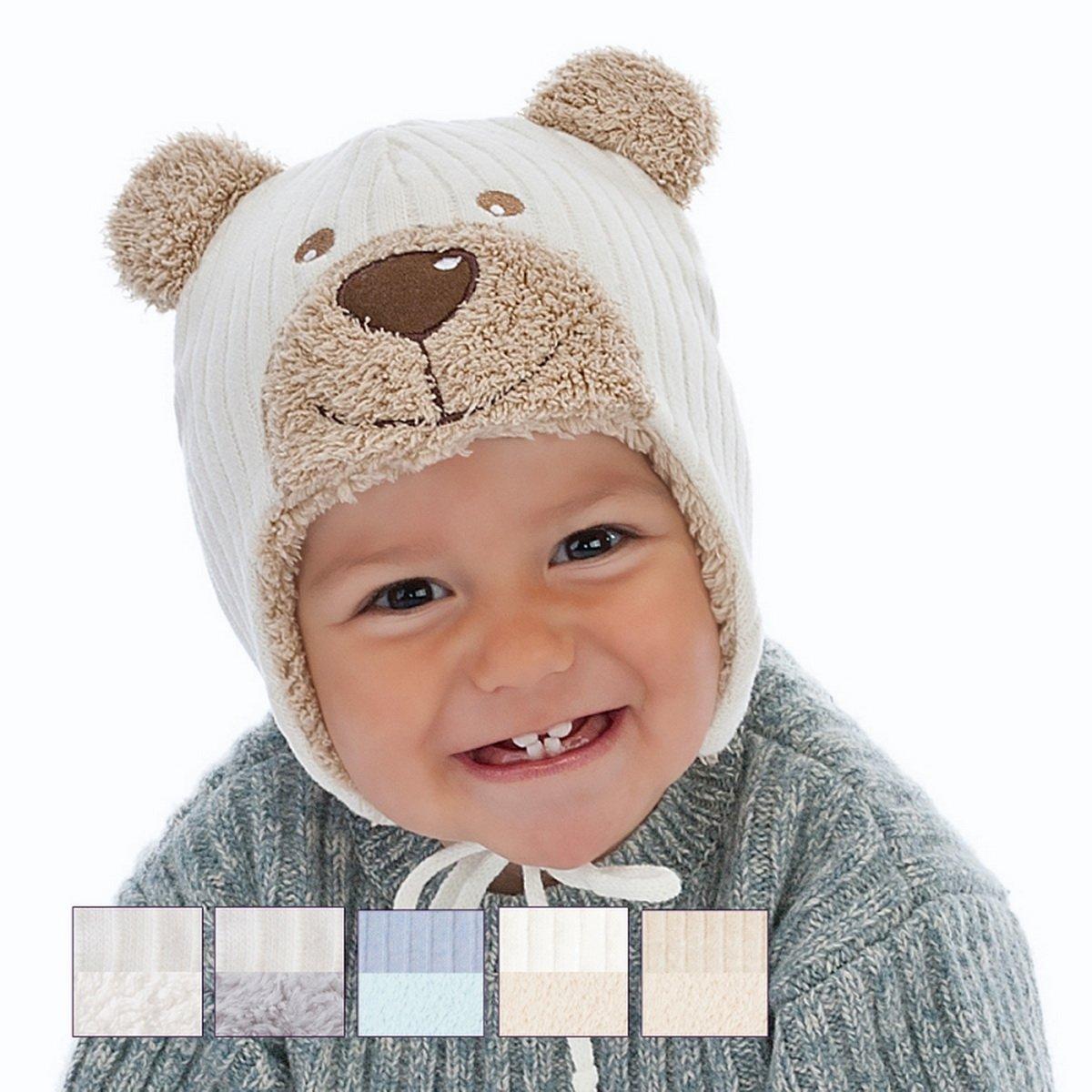 Baby Boy Boys Infant Hat Autumn Winter Warm Kids Cap 0-12 mths (0-2 months 38cm, Cream Brown) F.Y.