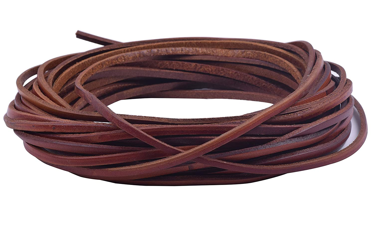 KONMAY 10 Yards 5.0x2.0mm Vintage Brown Soft Flat Topgrain Genuine//Real Cowhide Leather Lacing Strips