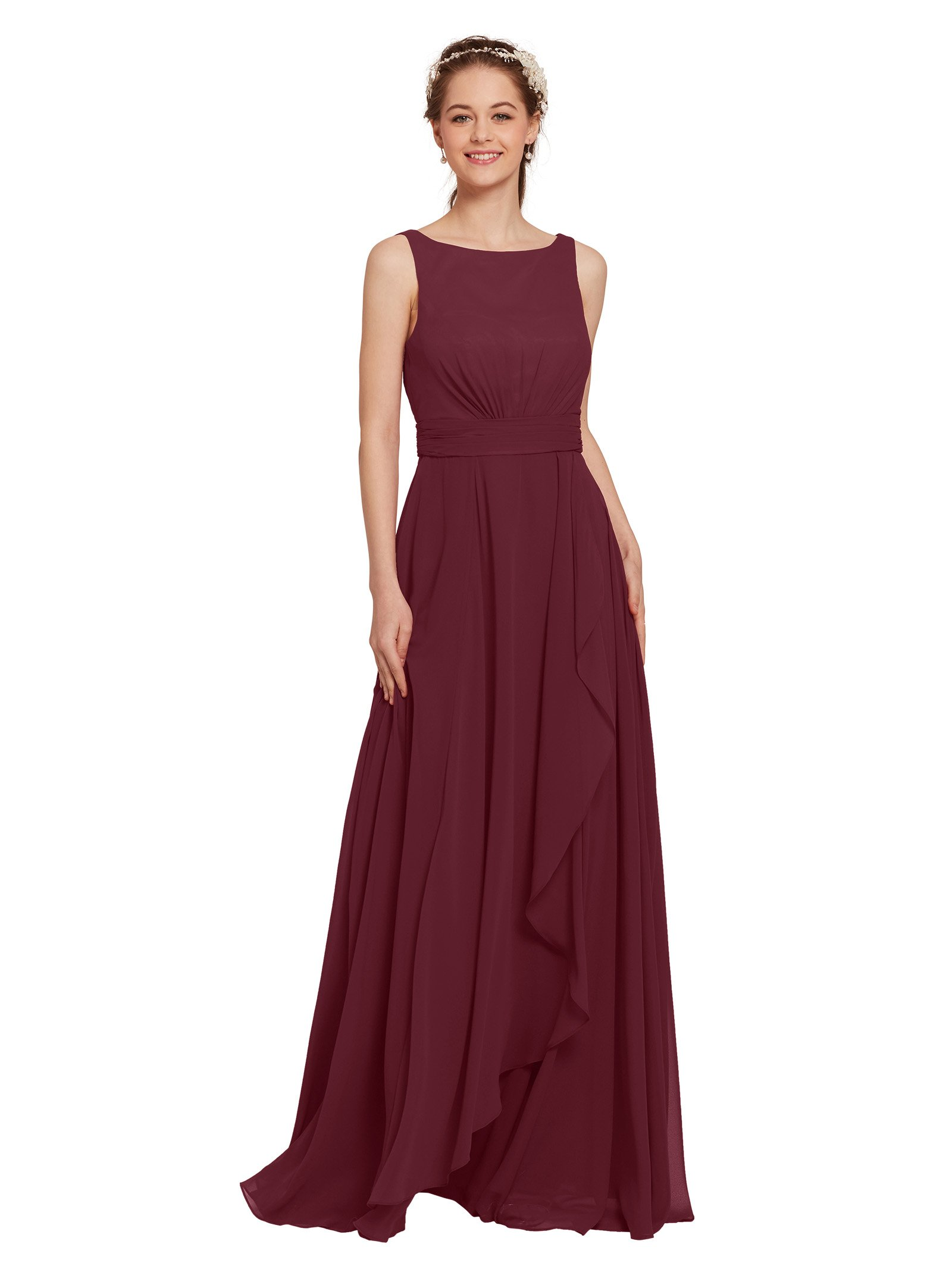 Modest Long Burgundy Bridesmaid Dress: Amazon.com