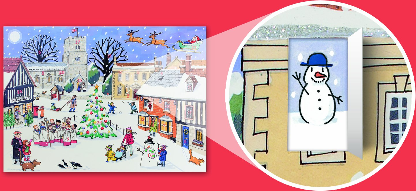 Alison Gardiner Famous Illustrator Unique Traditional Advent Calendar - Designed in England - Quaint English Village for the Merry Season