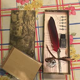Pluma de Escritura, GolWof Pluma de Caligrafía de Inmersión Retro Clásica Feather Pen con 5 Plumilla, Titular de la Pluma, Tinta, Conjunto de Letras: Amazon.es: Oficina y papelería