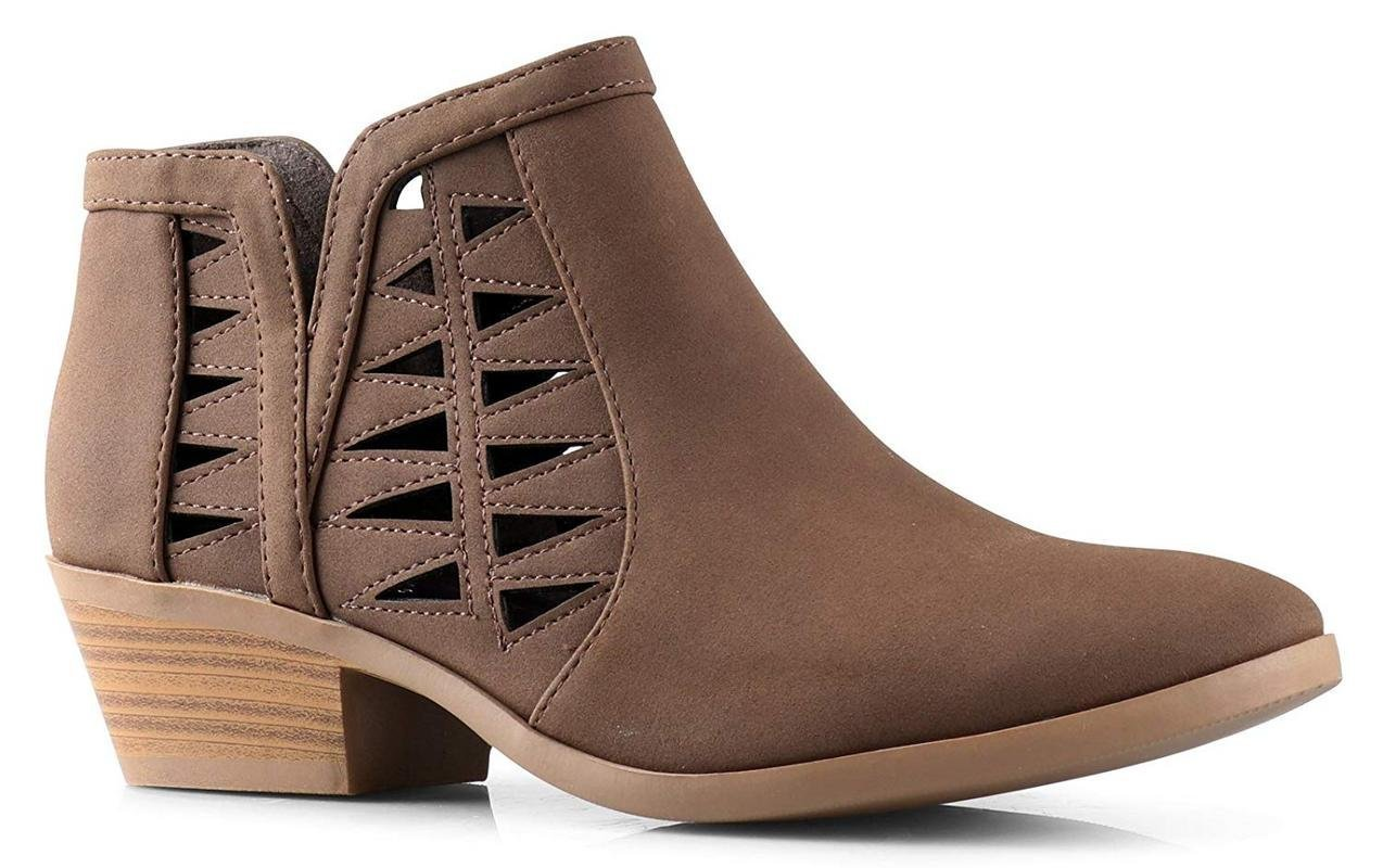 Soda Women's Perforated Cut Out Stacked Block Heel Ankle Booties Light Brown Dist (9)