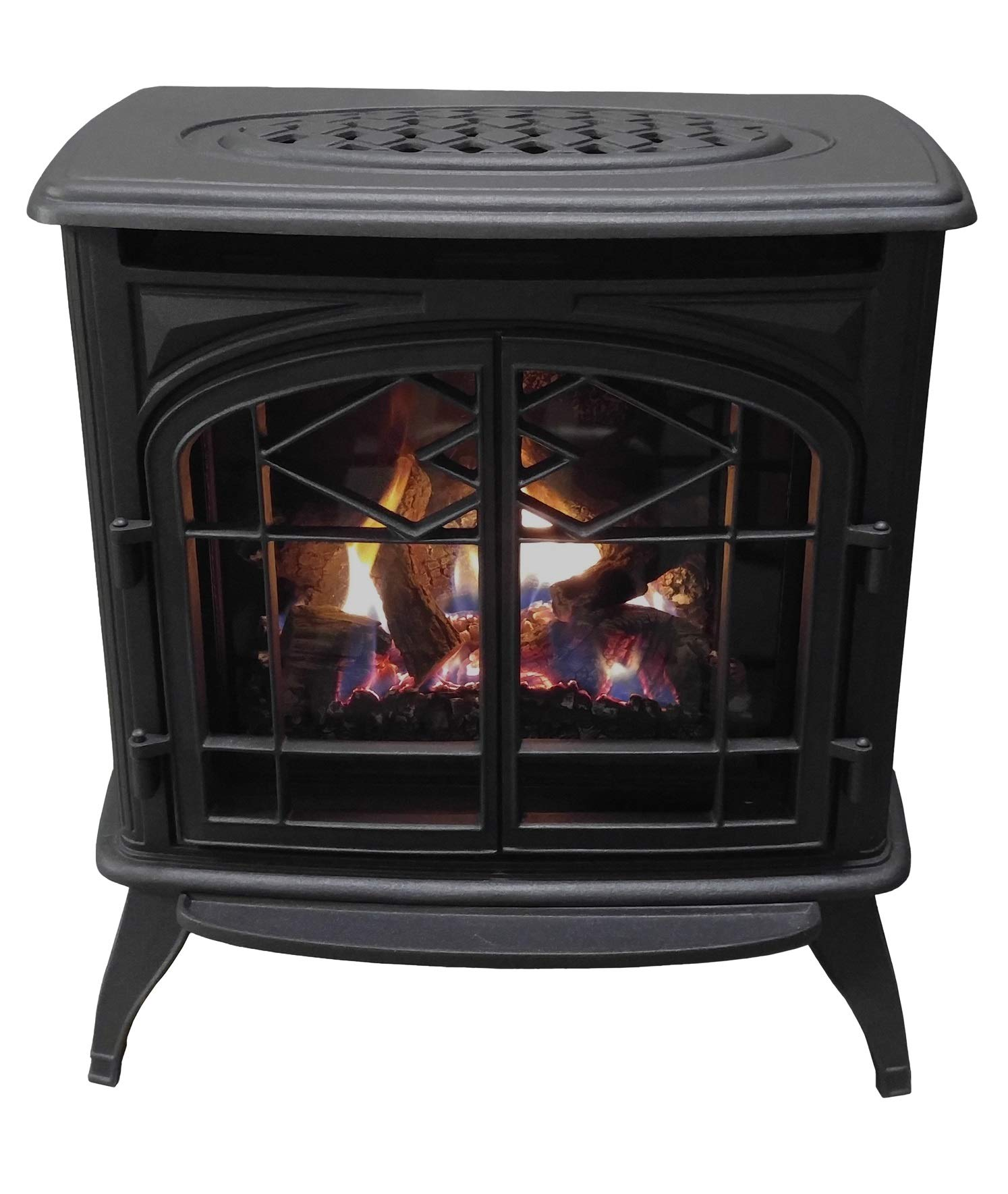 Thelin Echo Direct Vent (NG) Natural Gas or (LP) Propane Heater - Cast Iron Painted in Metallic Black by Thelin Echo DV Gas