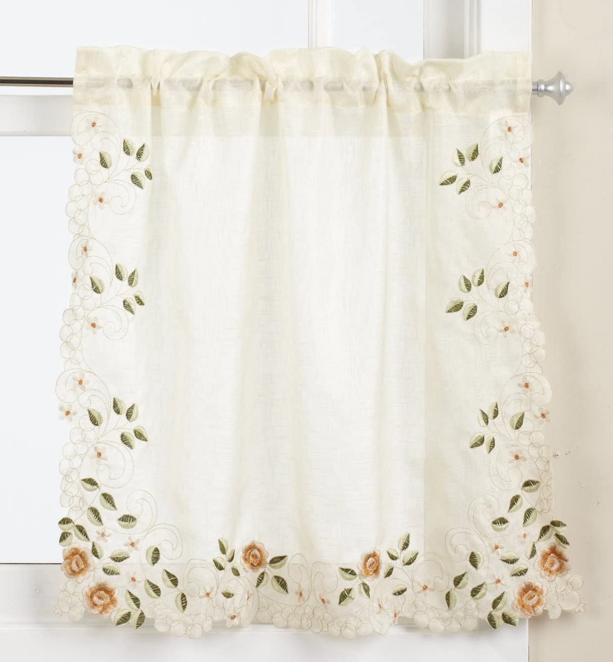 LORRAINE HOME FASHIONS Rosemary Tier Curtain Pair, 58 by 36-Inch, Linen