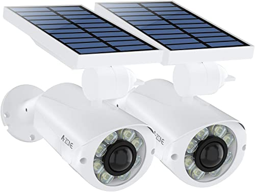 Solar Motion Sensor Light Outdoor – 800Lumens 8 LED Solar Security Lights 5-Watt IP66 Waterproof, Wireless Solar Flood Light for Porch Garden Patio Driveway Pathway,Aluminum,Pack of 2 White