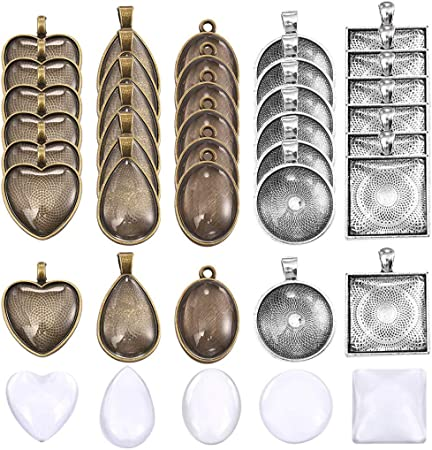30pcs OBSEDE 60Pcs Cameo Pendant Trays Settings-Heart Bezel Blank Tray 30pcs with Clear Cabochon Glass Dome Tiles for Jewellery Making 25mm