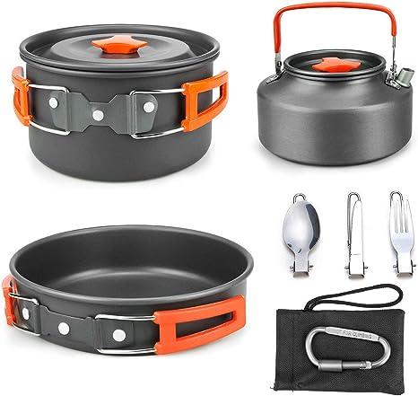 Powcan Batería de Cocina para Camping Set de Cocina para Acampada 2 Persona Aluminio Utensilios de Cocina al Aire Libre para Camping Senderismo