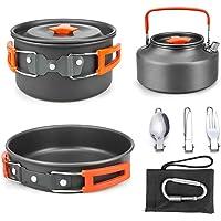 Powcan Batería de Cocina para Camping Set de Cocina para Acampada 2 Persona Aluminio Utensilios de Cocina al Aire Libre…