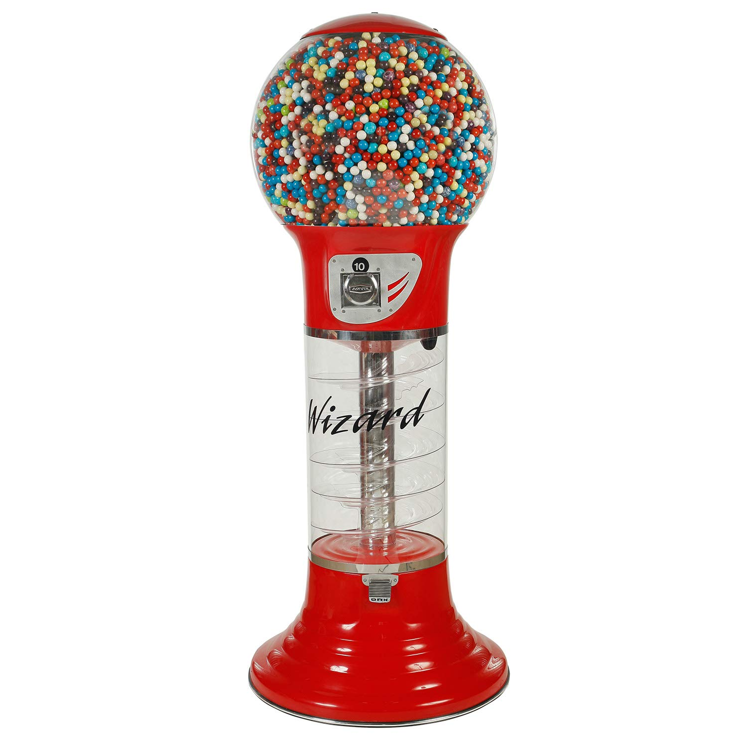 Spiral Gumball Vending Machines - Giant Wizard 5'6'' - $0.25 (Red)