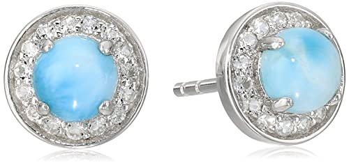 Sterling Silver Larimar Round Halo Stud Earrings