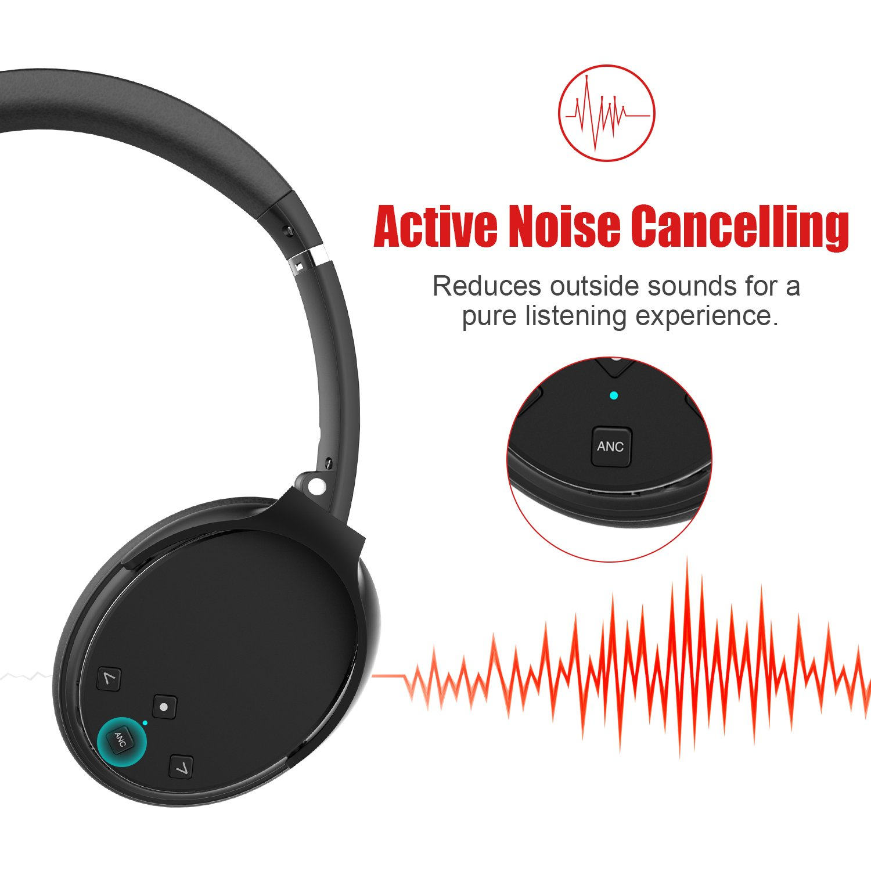 LOBKIN Aktiver Noise Cancelling Bluetooth Kopfhörer mit Mikrofon Hi-Fi Deep Bass Funkkopfhörer Over Ear, Bequeme Protein Ohrpolster, 12 Stunden Playtime für 3,5 mm & Bluetooth Gerät (Schwarz)