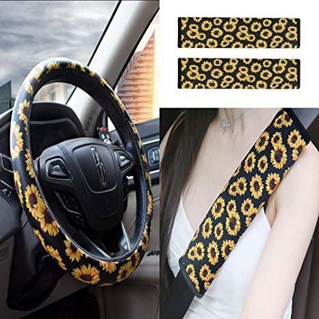 Peachy Womdee Sunflower Steering Wheel Cover With Seat Belt Pads Cover Anti Slip And Sweat Absorption Steering Wheel Cover 2 Pack Universal Car Seat Belt Andrewgaddart Wooden Chair Designs For Living Room Andrewgaddartcom