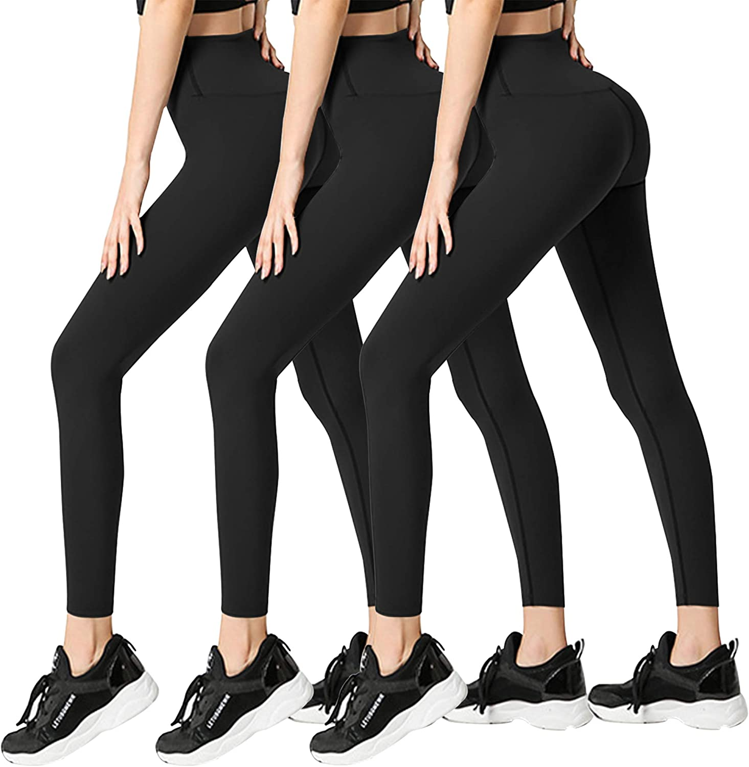 3 Pack Womens Leggings-No See-Through High Waisted Tummy Control Yoga Pants Workout Running Legging-Reg&Plus Size: Clothing