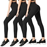 FULLSOFT 3 Pack Super Soft Black Leggings for Women-High Waist Yoga Workout Running Pants