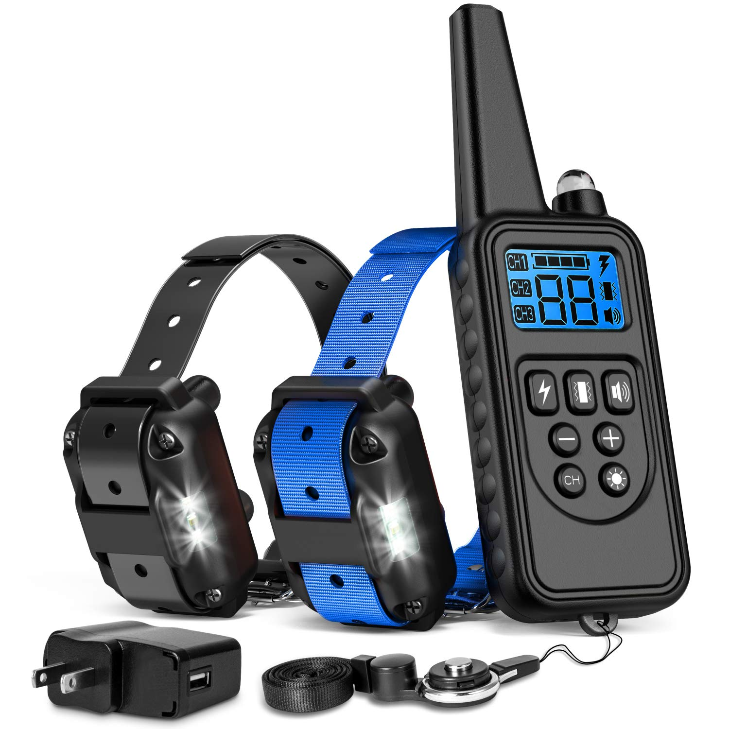 iSPECLE Shock Collar for Dogs, 2018 Upgraded Waterproof Dog Training Collar with Remote for Large Medium Dogs Long Range E Collars for Dogs with LED Light Shock Tone Vibration Neck Lanyard/Adapter